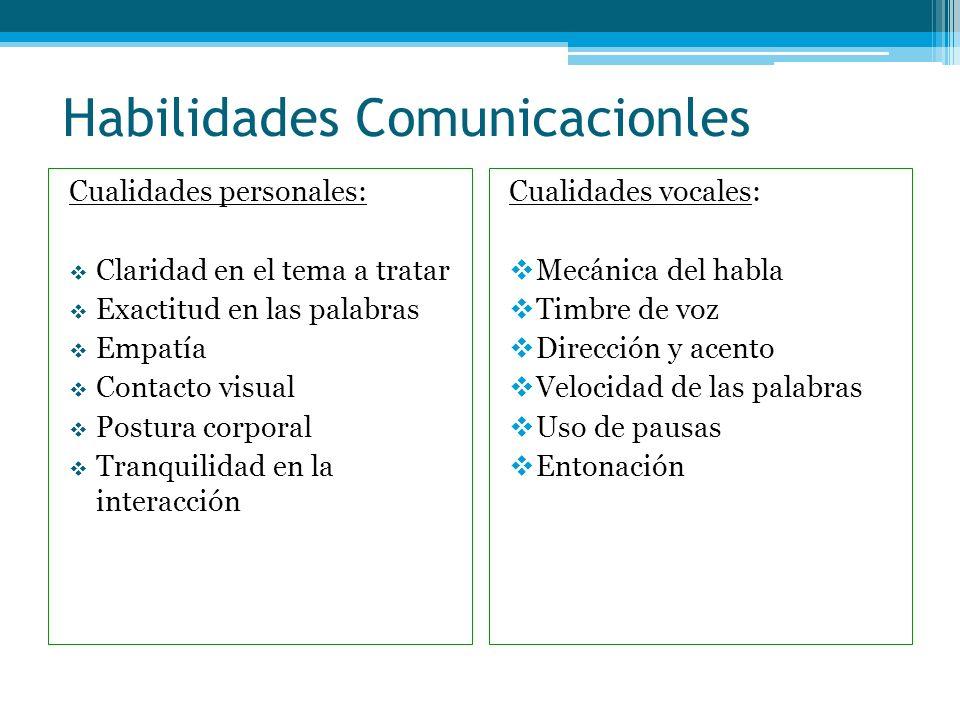 Habilidades Comunicacionles Cualidades personales: Claridad en el tema a tratar Exactitud en las palabras Empatía Contacto visual Postura corporal Tra