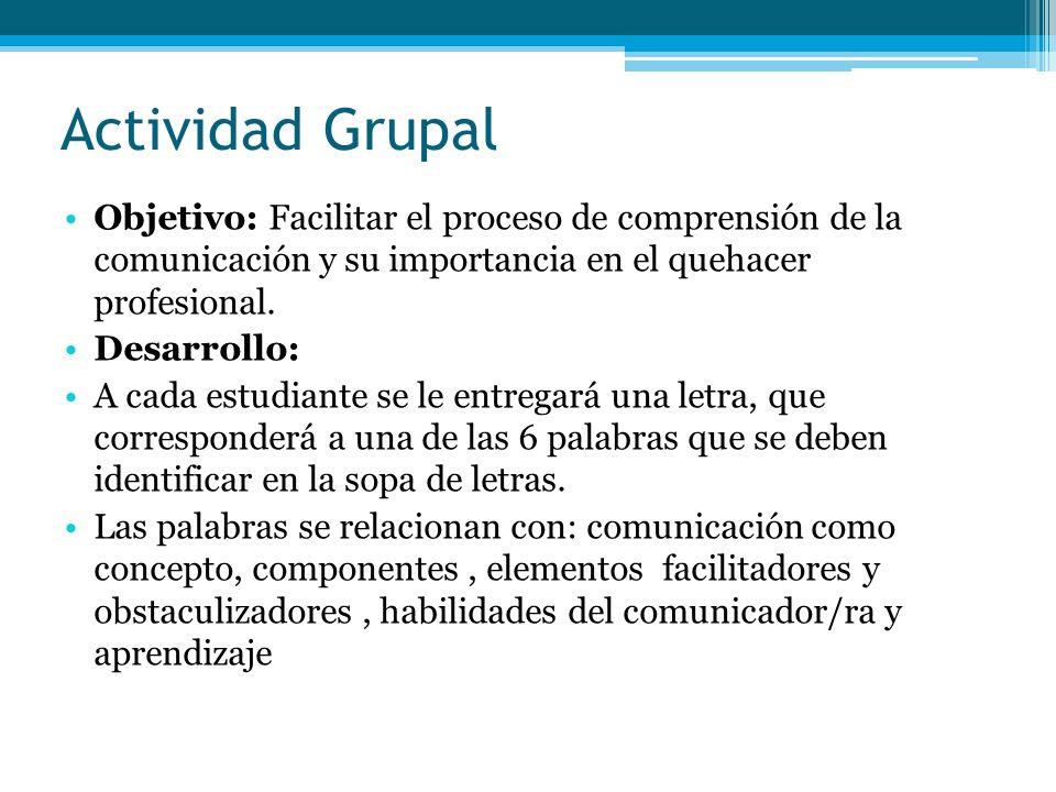 Actividad Grupal Objetivo: Facilitar el proceso de comprensión de la comunicación y su importancia en el quehacer profesional. Desarrollo: A cada estu