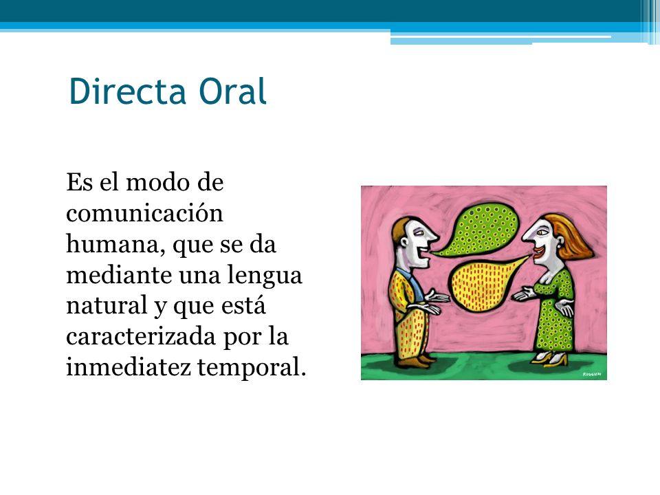 Directa Oral Es el modo de comunicación humana, que se da mediante una lengua natural y que está caracterizada por la inmediatez temporal.