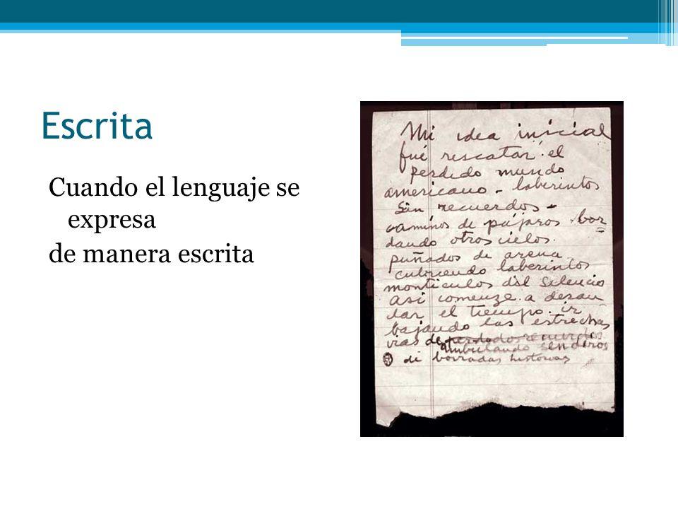 Escrita Cuando el lenguaje se expresa de manera escrita