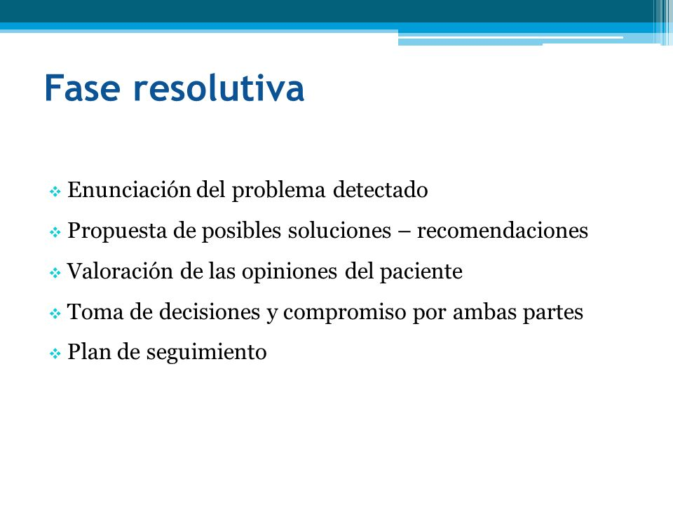 Fase resolutiva Enunciación del problema detectado Propuesta de posibles soluciones – recomendaciones Valoración de las opiniones del paciente Toma de