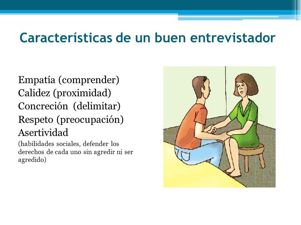 Características de un buen entrevistador Empatía (comprender) Calidez (proximidad) Concreción (delimitar) Respeto (preocupación) Asertividad (habilida
