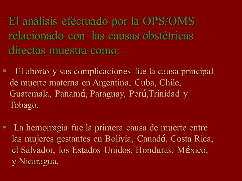 El aborto y sus complicaciones fue la causa principal de muerte materna en Argentina, Cuba, Chile, de muerte materna en Argentina, Cuba, Chile, Guatem