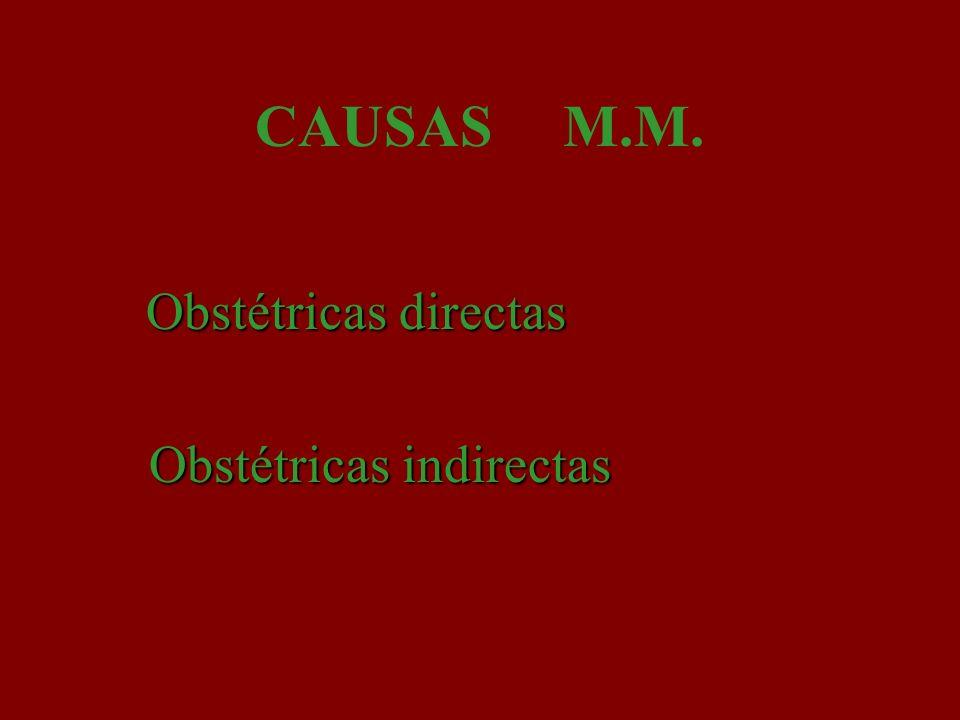 Defunciones obstétricas directas: son las que resultan de complicaciones obstétricas del estado de gestación (embarazo, trabajo de parto y puerperio), de intervenciones, de omisiones, de tratamiento incorrecto, o de una cadena de acontecimientos originada en cualquiera de las circunstancias mencionadas.