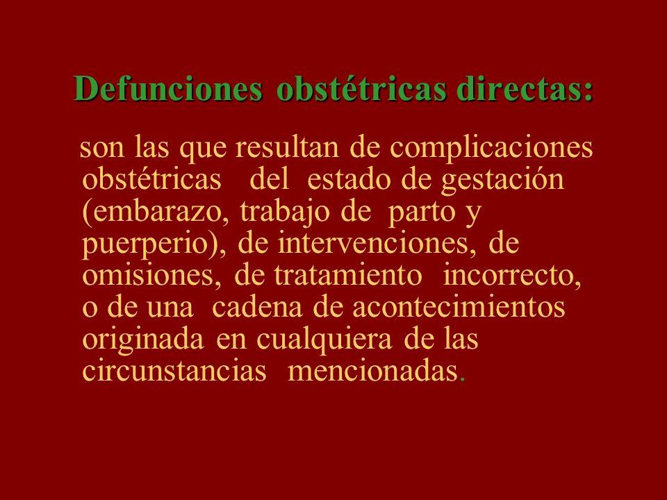 Defunciones obstétricas directas: son las que resultan de complicaciones obstétricas del estado de gestación (embarazo, trabajo de parto y puerperio),