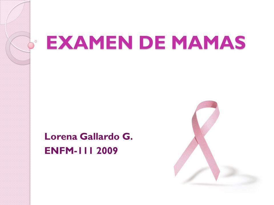 EXAMEN DE MAMAS Lorena Gallardo G. ENFM-111 2009