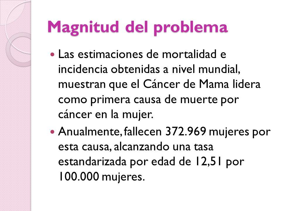 Magnitud del problema Las estimaciones de mortalidad e incidencia obtenidas a nivel mundial, muestran que el Cáncer de Mama lidera como primera causa