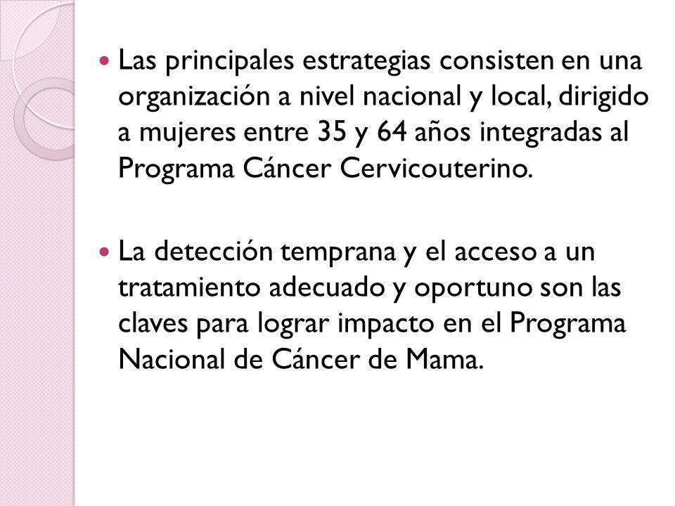Las principales estrategias consisten en una organización a nivel nacional y local, dirigido a mujeres entre 35 y 64 años integradas al Programa Cánce