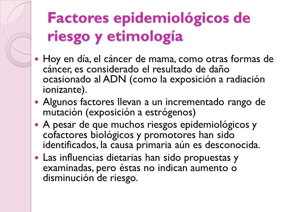 Factores epidemiológicos de riesgo y etimología Hoy en día, el cáncer de mama, como otras formas de cáncer, es considerado el resultado de daño ocasio