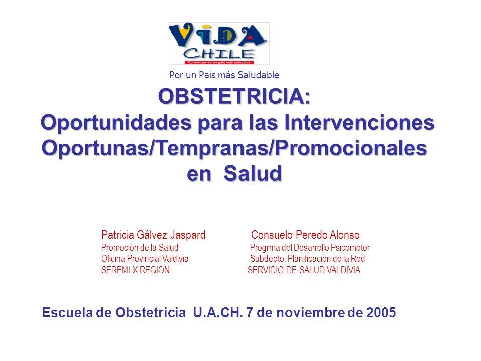 OBSTETRICIA: Oportunidades para las Intervenciones Oportunas/Tempranas/Promocionales en Salud Patricia Gálvez Jaspard Consuelo Peredo Alonso Promoción