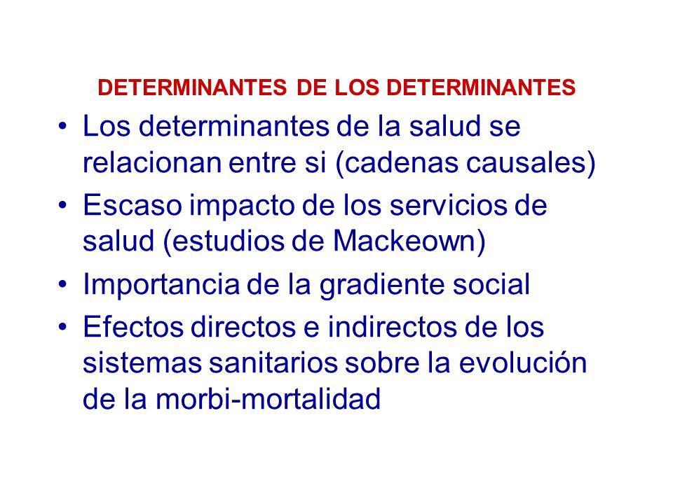 DETERMINANTES DE LOS DETERMINANTES Los determinantes de la salud se relacionan entre si (cadenas causales) Escaso impacto de los servicios de salud (e