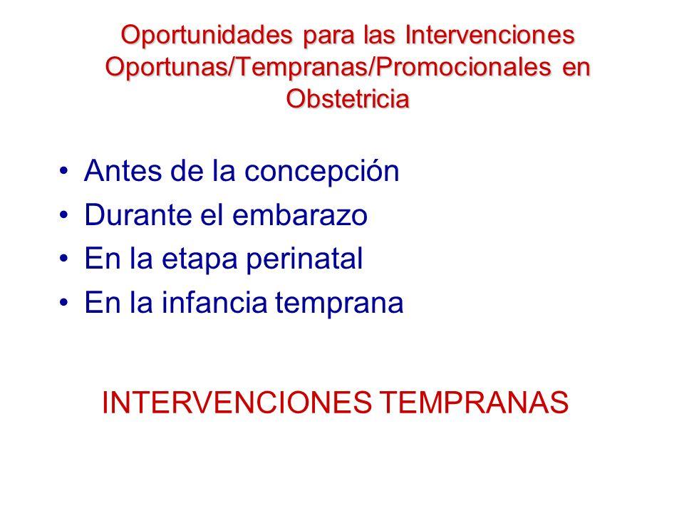 Oportunidades para las Intervenciones Oportunas/Tempranas/Promocionales en Obstetricia Antes de la concepción Durante el embarazo En la etapa perinata