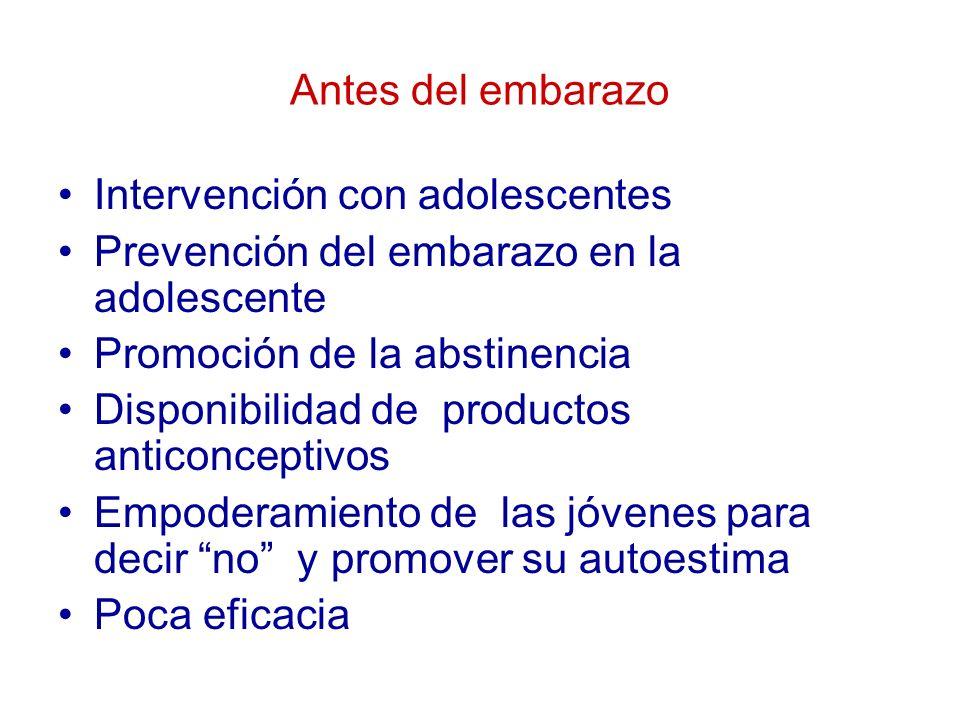 Antes del embarazo Intervención con adolescentes Prevención del embarazo en la adolescente Promoción de la abstinencia Disponibilidad de productos ant