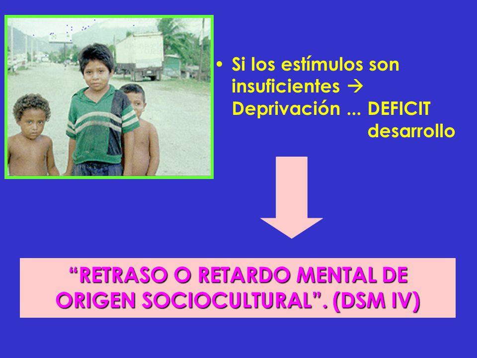 Si los estímulos son insuficientes Deprivación... DEFICIT desarrollo RETRASO O RETARDO MENTAL DE ORIGEN SOCIOCULTURAL. (DSM IV)