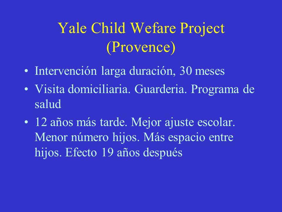 Yale Child Wefare Project (Provence) Intervención larga duración, 30 meses Visita domiciliaria. Guarderia. Programa de salud 12 años más tarde. Mejor