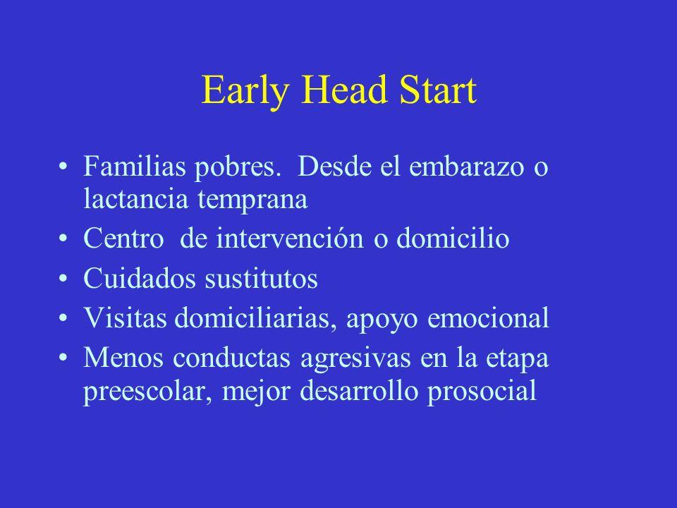 Early Head Start Familias pobres. Desde el embarazo o lactancia temprana Centro de intervención o domicilio Cuidados sustitutos Visitas domiciliarias,