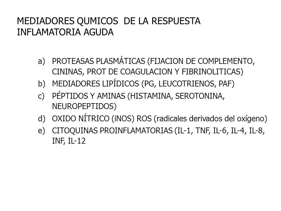 MEDIADORES QUMICOS DE LA RESPUESTA INFLAMATORIA AGUDA a)PROTEASAS PLASMÁTICAS (FIJACION DE COMPLEMENTO, CININAS, PROT DE COAGULACION Y FIBRINOLITICAS)