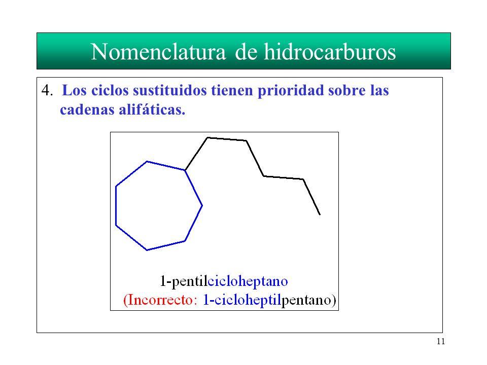 11 Nomenclatura de hidrocarburos 4. Los ciclos sustituidos tienen prioridad sobre las cadenas alifáticas.