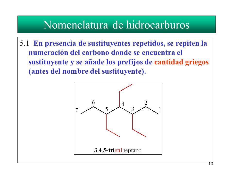 13 Nomenclatura de hidrocarburos 5.1 En presencia de sustituyentes repetidos, se repiten la numeración del carbono donde se encuentra el sustituyente