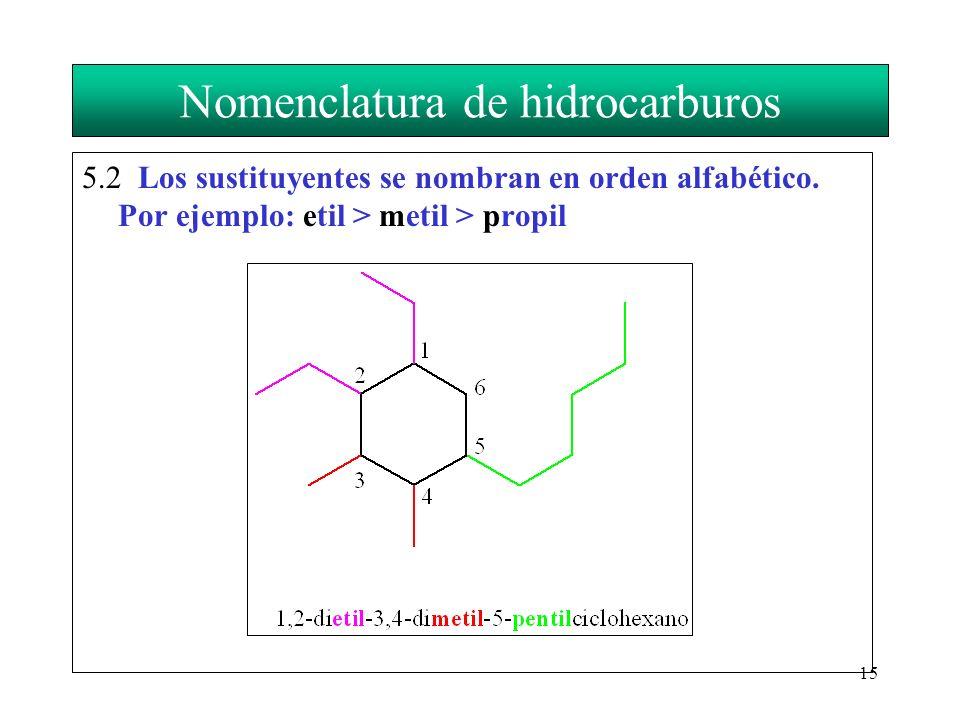 15 Nomenclatura de hidrocarburos 5.2 Los sustituyentes se nombran en orden alfabético. Por ejemplo: etil > metil > propil