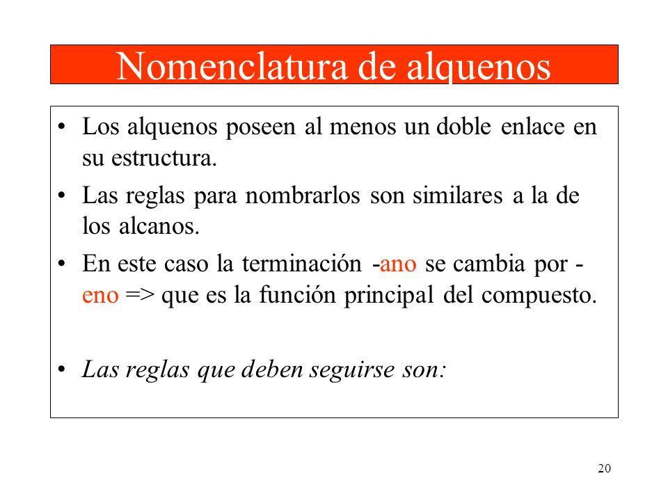 20 Nomenclatura de alquenos Los alquenos poseen al menos un doble enlace en su estructura. Las reglas para nombrarlos son similares a la de los alcano