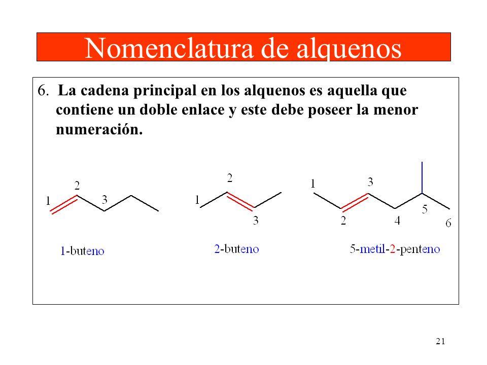 21 Nomenclatura de alquenos 6. La cadena principal en los alquenos es aquella que contiene un doble enlace y este debe poseer la menor numeración.