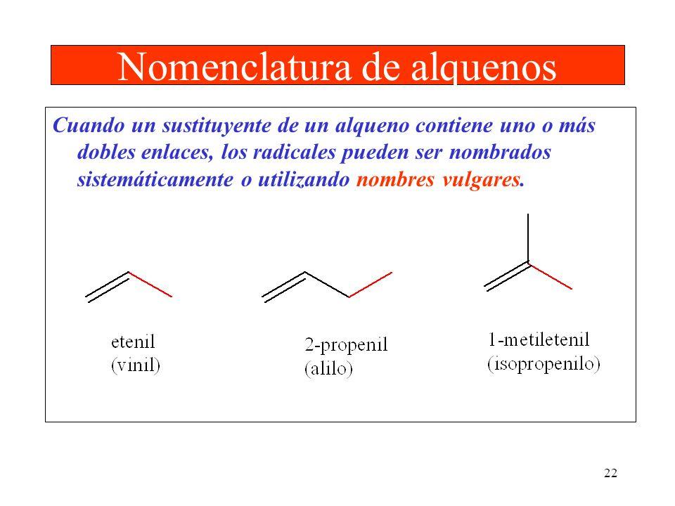 22 Nomenclatura de alquenos Cuando un sustituyente de un alqueno contiene uno o más dobles enlaces, los radicales pueden ser nombrados sistemáticament