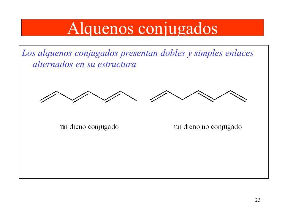 23 Alquenos conjugados Los alquenos conjugados presentan dobles y simples enlaces alternados en su estructura
