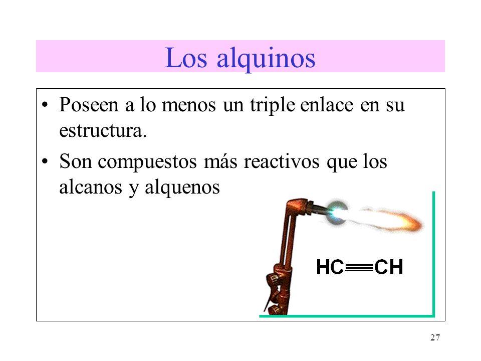 27 Los alquinos Poseen a lo menos un triple enlace en su estructura. Son compuestos más reactivos que los alcanos y alquenos