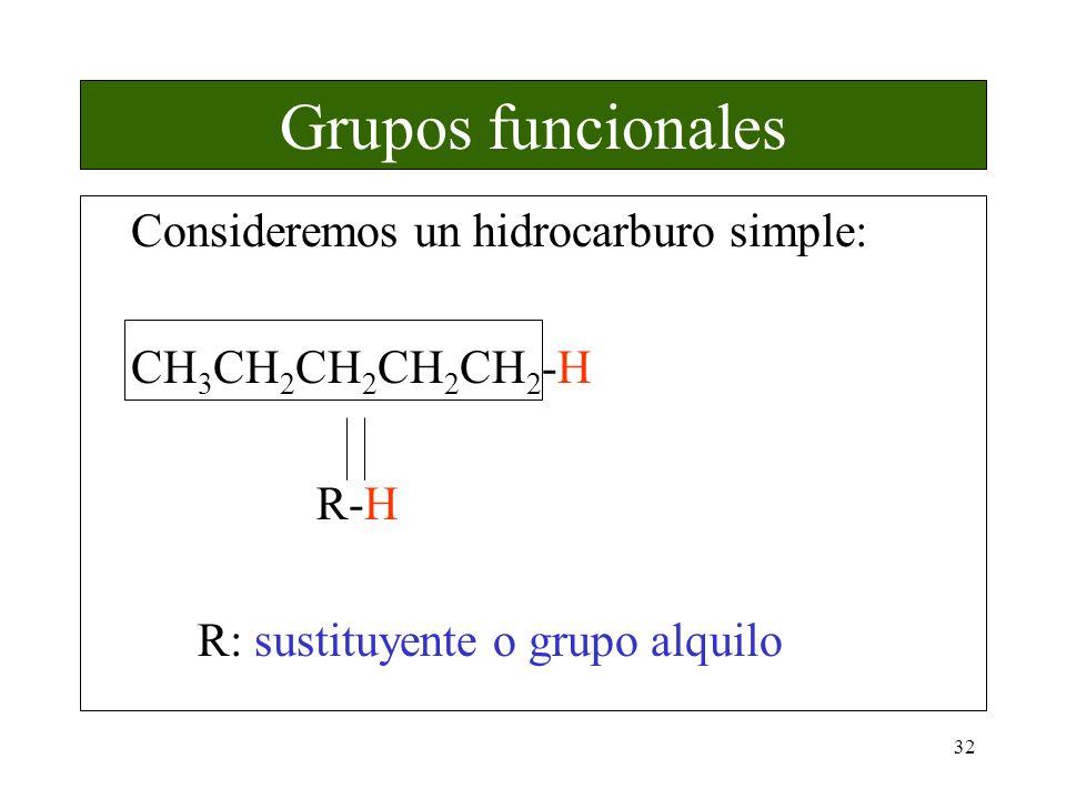 32 Grupos funcionales Consideremos un hidrocarburo simple: CH 3 CH 2 CH 2 CH 2 CH 2 -H R-H R: sustituyente o grupo alquilo