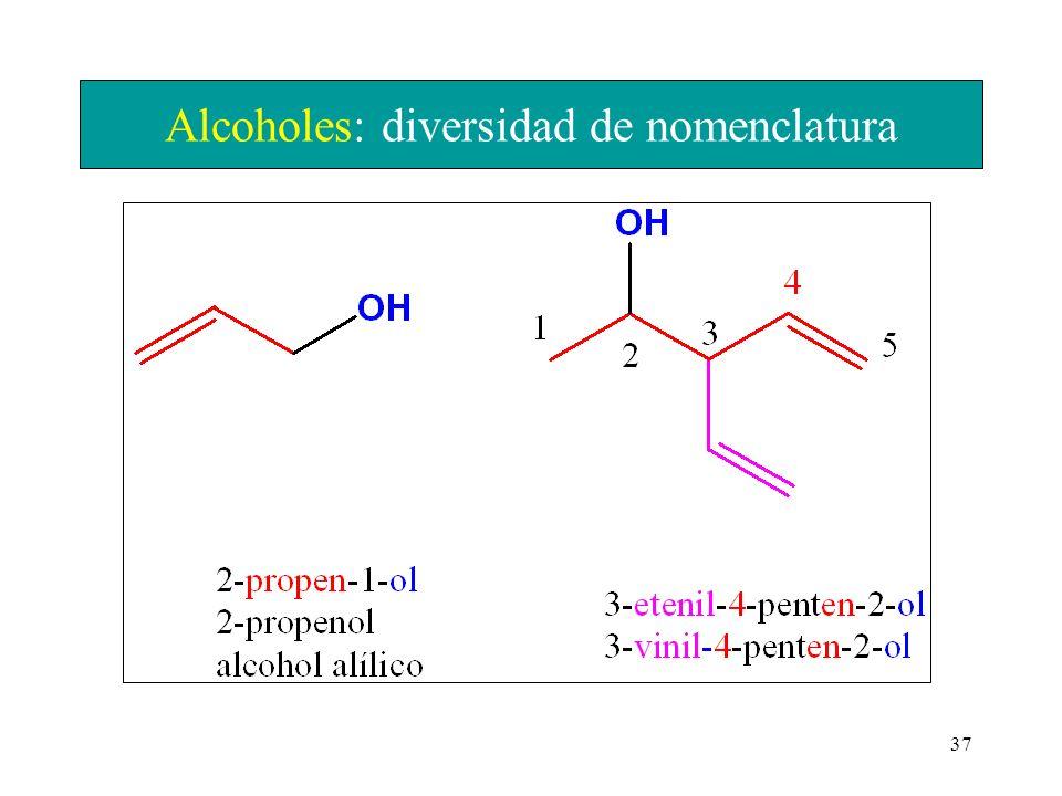 37 Alcoholes: diversidad de nomenclatura