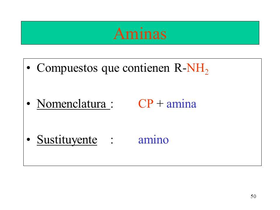 50 Aminas Compuestos que contienen R-NH 2 Nomenclatura: CP + amina Sustituyente : amino