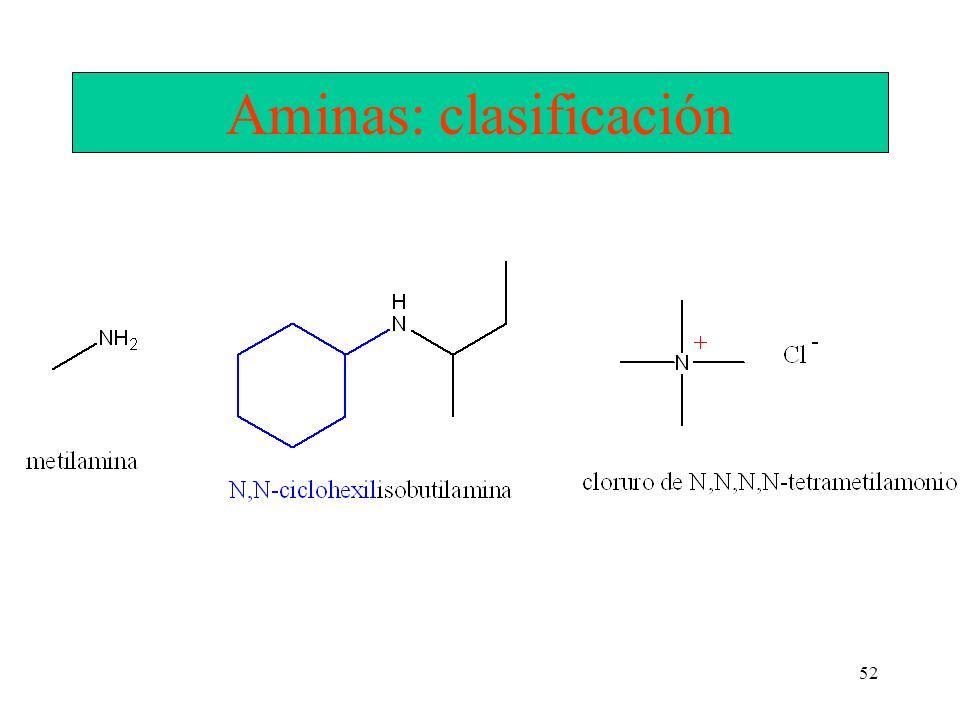52 Aminas: clasificación