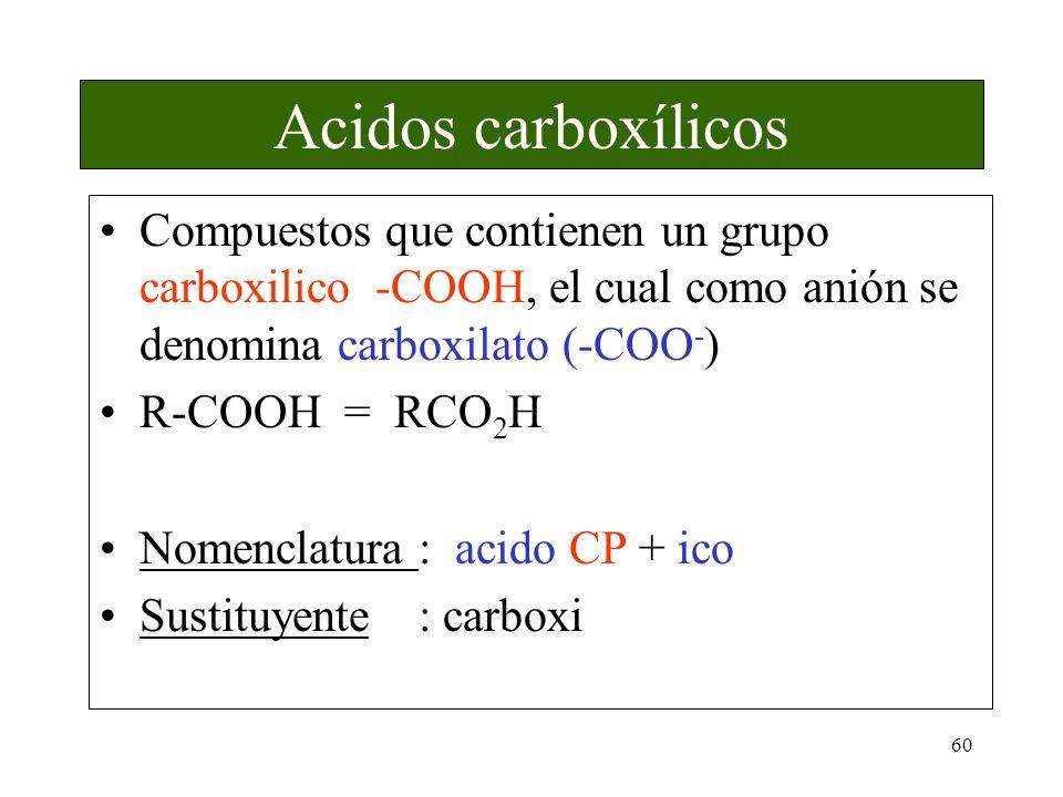 60 Acidos carboxílicos Compuestos que contienen un grupo carboxilico -COOH, el cual como anión se denomina carboxilato (-COO - ) R-COOH = RCO 2 H Nome