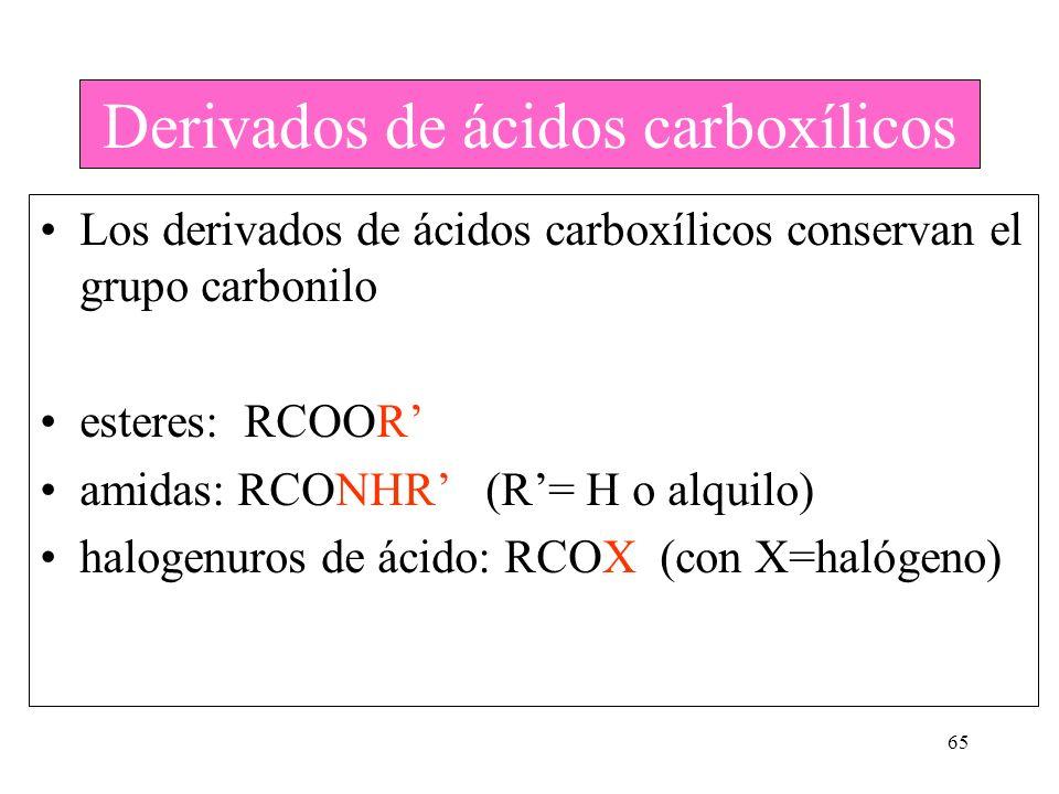 65 Derivados de ácidos carboxílicos Los derivados de ácidos carboxílicos conservan el grupo carbonilo esteres: RCOOR amidas: RCONHR (R= H o alquilo) h
