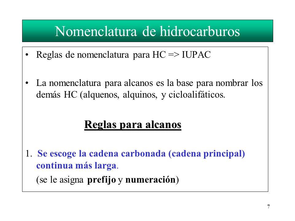 7 Nomenclatura de hidrocarburos Reglas de nomenclatura para HC => IUPAC La nomenclatura para alcanos es la base para nombrar los demás HC (alquenos, a