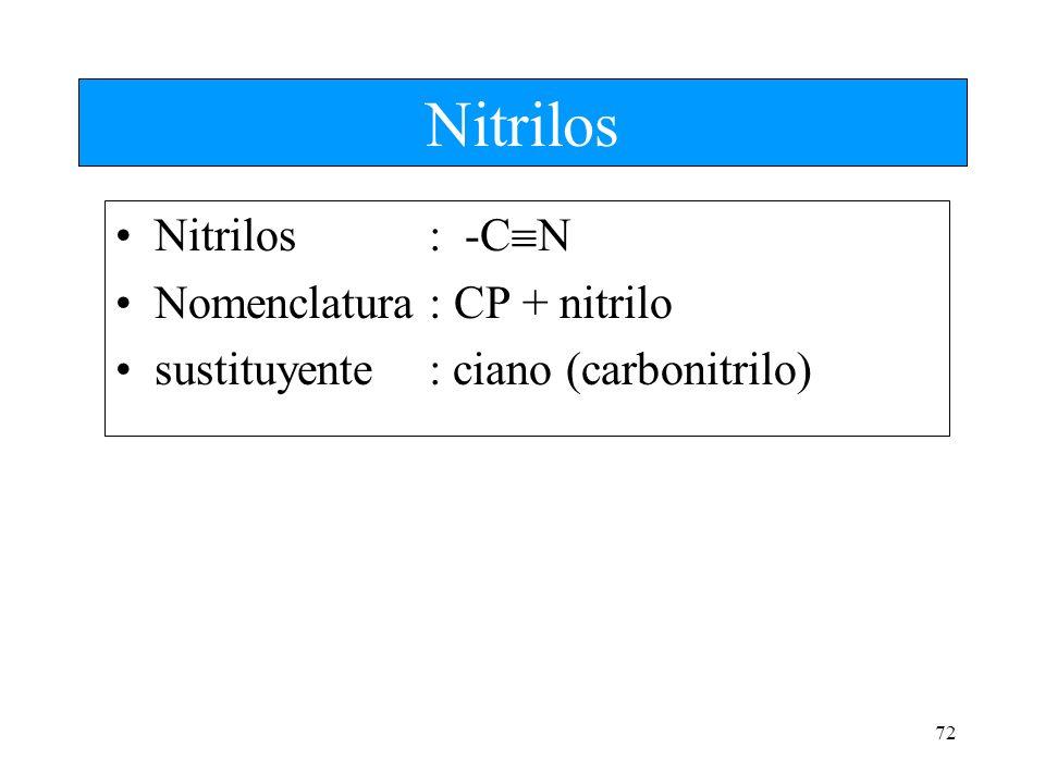 72 Nitrilos Nitrilos: -C N Nomenclatura : CP + nitrilo sustituyente: ciano (carbonitrilo)