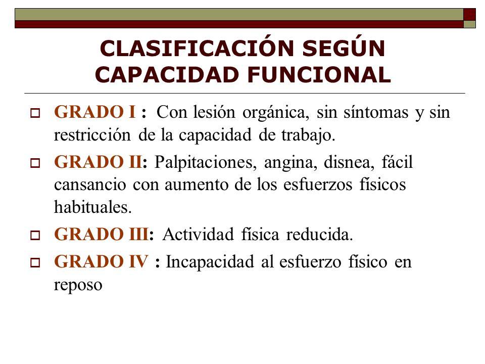 CLASIFICACIÓN SEGÚN CAPACIDAD FUNCIONAL GRADO I : Con lesión orgánica, sin síntomas y sin restricción de la capacidad de trabajo.