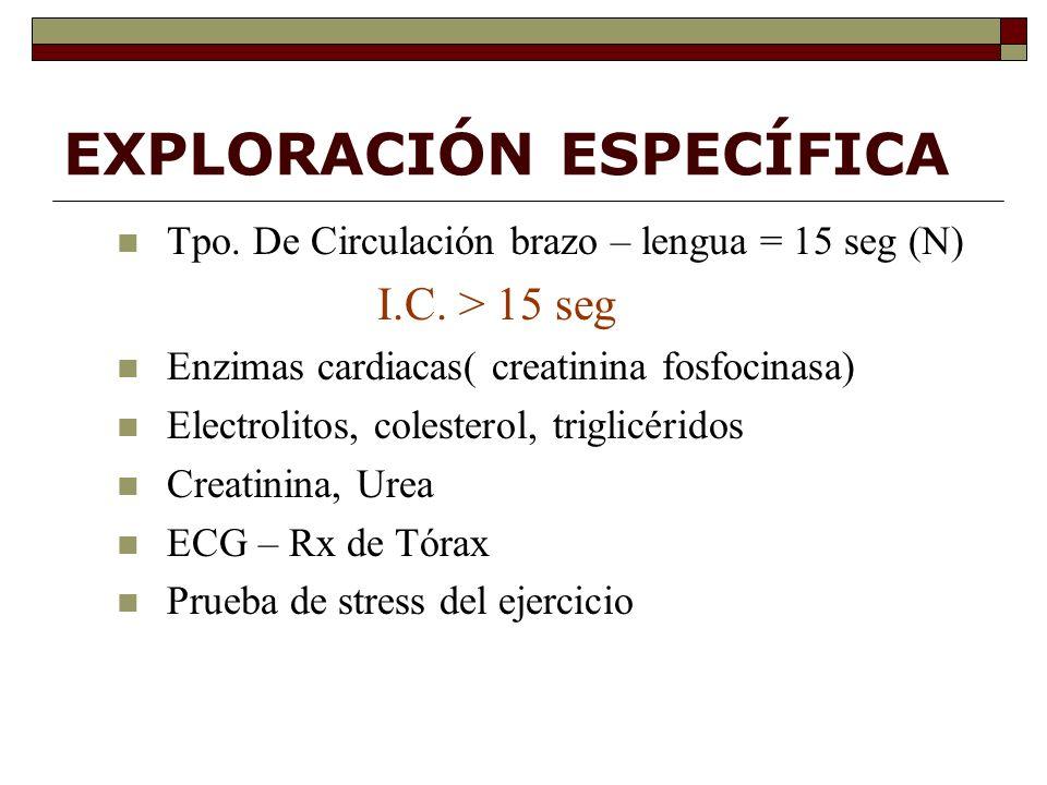 EXPLORACIÓN ESPECÍFICA Tpo.De Circulación brazo – lengua = 15 seg (N) I.C.
