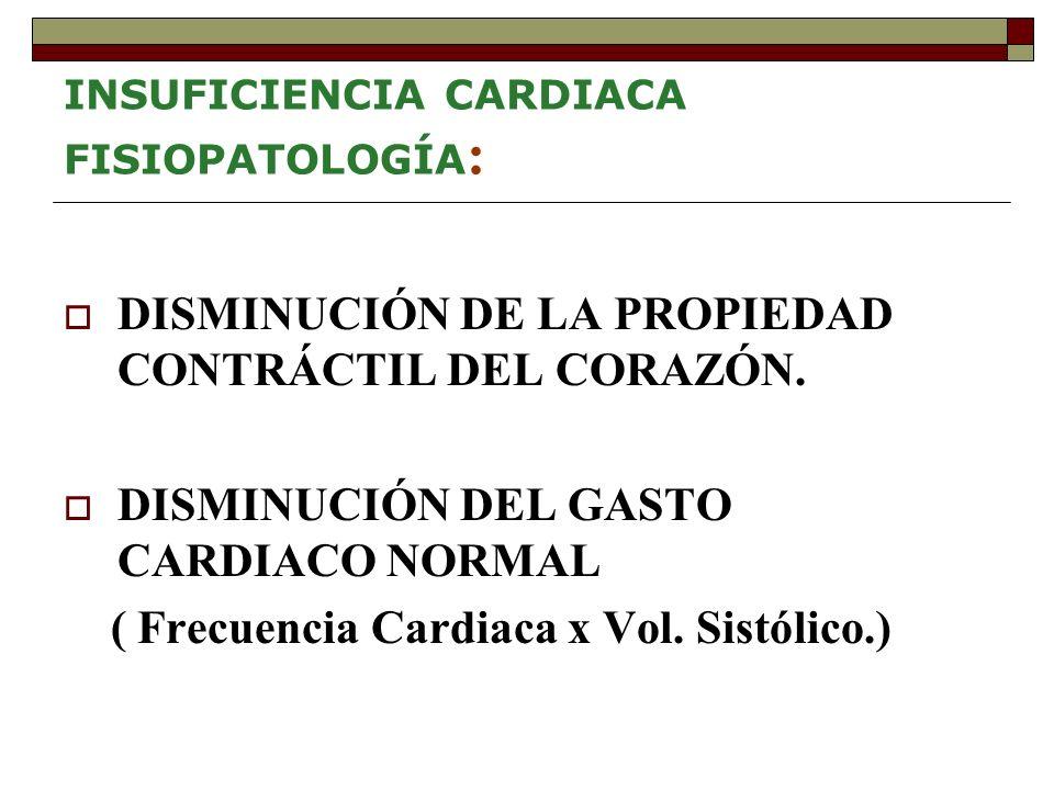 INSUFICIENCIA CARDIACA FISIOPATOLOGÍA : DISMINUCIÓN DE LA PROPIEDAD CONTRÁCTIL DEL CORAZÓN.
