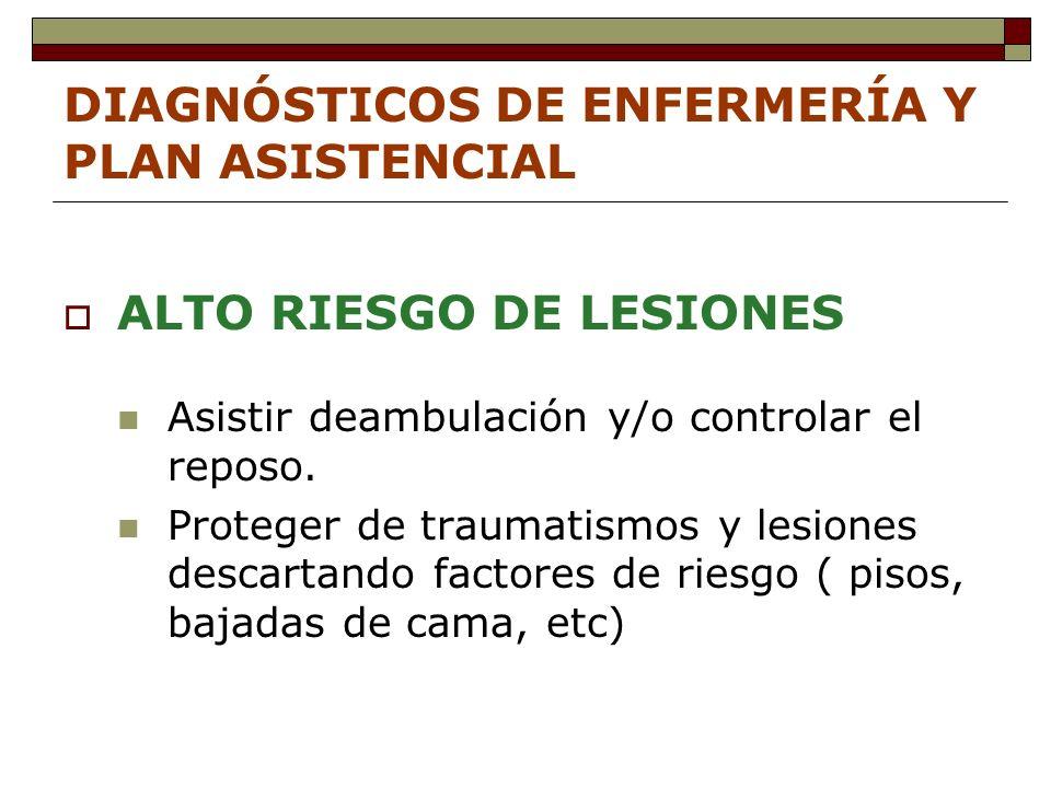 DIAGNÓSTICOS DE ENFERMERÍA Y PLAN ASISTENCIAL ALTO RIESGO DE LESIONES Asistir deambulación y/o controlar el reposo.