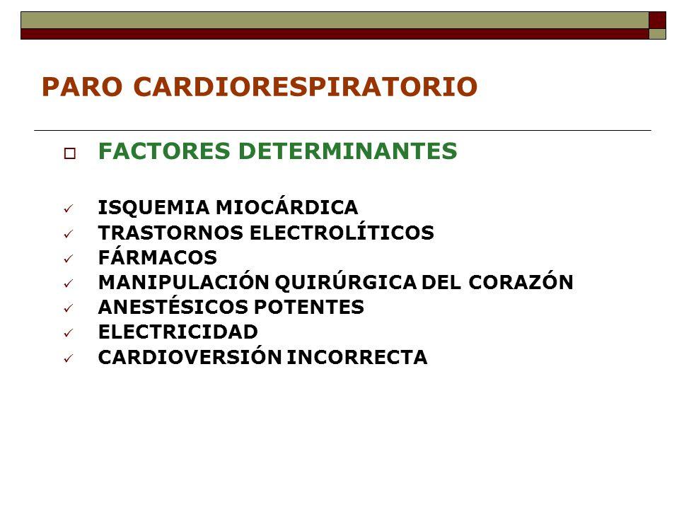 PARO CARDIORESPIRATORIO FACTORES DETERMINANTES ISQUEMIA MIOCÁRDICA TRASTORNOS ELECTROLÍTICOS FÁRMACOS MANIPULACIÓN QUIRÚRGICA DEL CORAZÓN ANESTÉSICOS POTENTES ELECTRICIDAD CARDIOVERSIÓN INCORRECTA