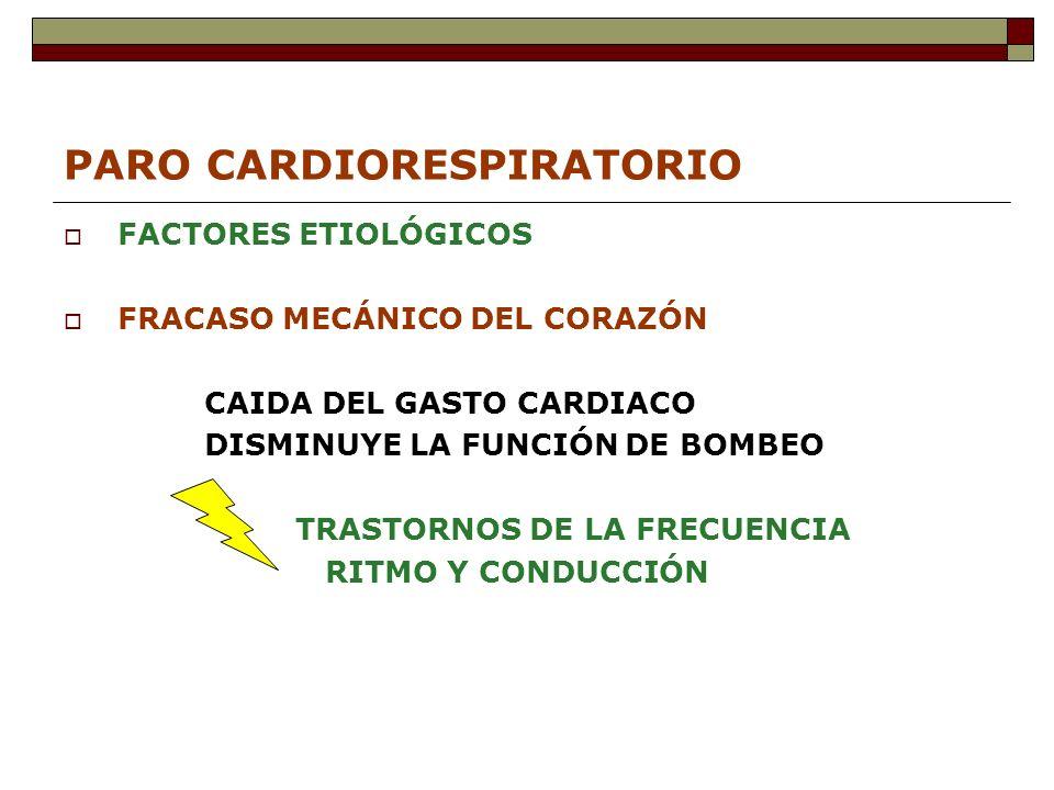 PARO CARDIORESPIRATORIO FACTORES ETIOLÓGICOS FRACASO MECÁNICO DEL CORAZÓN CAIDA DEL GASTO CARDIACO DISMINUYE LA FUNCIÓN DE BOMBEO TRASTORNOS DE LA FRECUENCIA RITMO Y CONDUCCIÓN