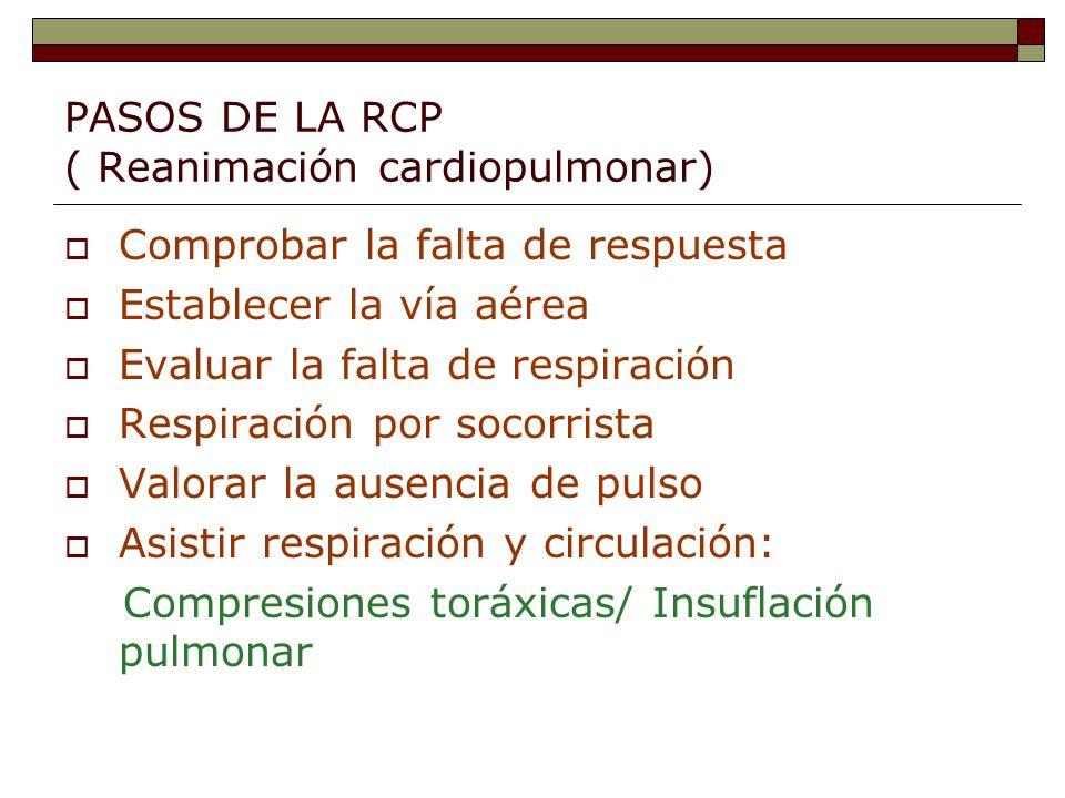 PASOS DE LA RCP ( Reanimación cardiopulmonar) Comprobar la falta de respuesta Establecer la vía aérea Evaluar la falta de respiración Respiración por socorrista Valorar la ausencia de pulso Asistir respiración y circulación: Compresiones toráxicas/ Insuflación pulmonar