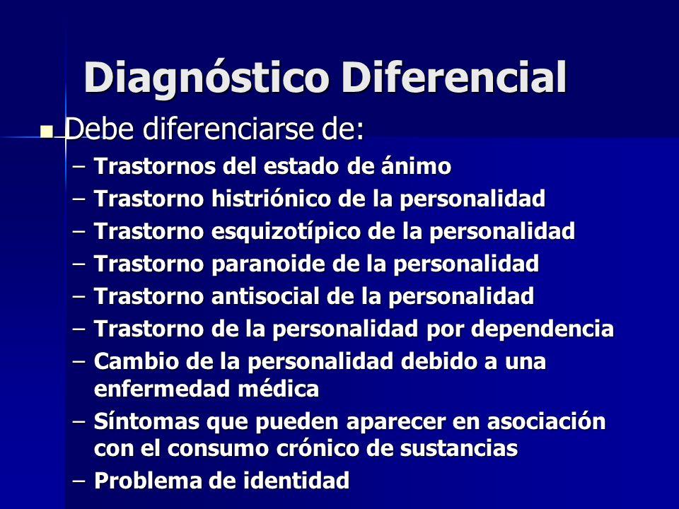 Diagnóstico Diferencial Debe diferenciarse de: Debe diferenciarse de: –Trastornos del estado de ánimo –Trastorno histriónico de la personalidad –Trast