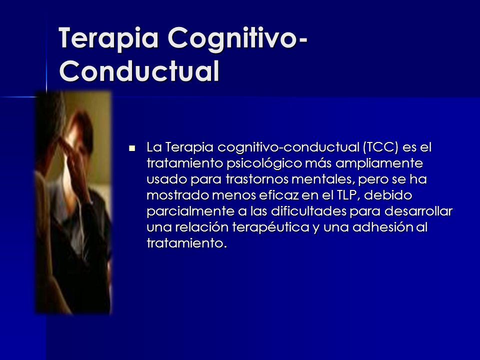 Terapia Cognitivo- Conductual La Terapia cognitivo-conductual (TCC) es el tratamiento psicológico más ampliamente usado para trastornos mentales, pero