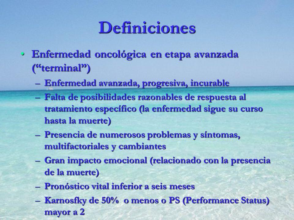 Definiciones Enfermedad oncológica en etapa avanzada (terminal)Enfermedad oncológica en etapa avanzada (terminal) –Enfermedad avanzada, progresiva, in