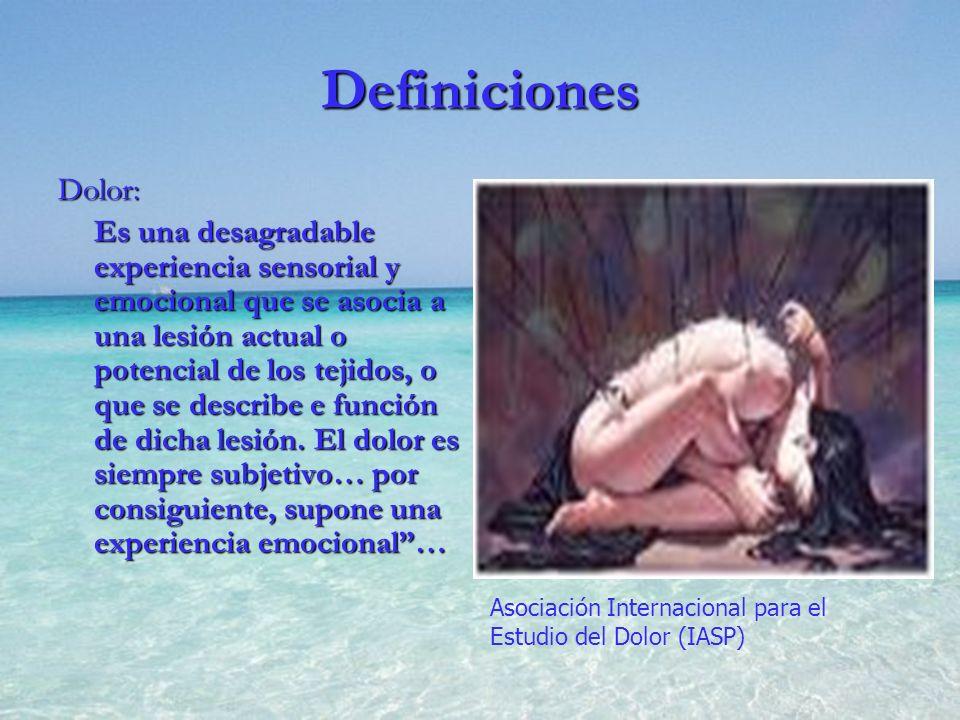 Definiciones Dolor: Es una desagradable experiencia sensorial y emocional que se asocia a una lesión actual o potencial de los tejidos, o que se descr