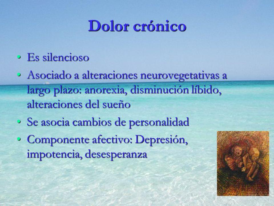Dolor crónico Es silenciosoEs silencioso Asociado a alteraciones neurovegetativas a largo plazo: anorexia, disminución líbido, alteraciones del sueñoA