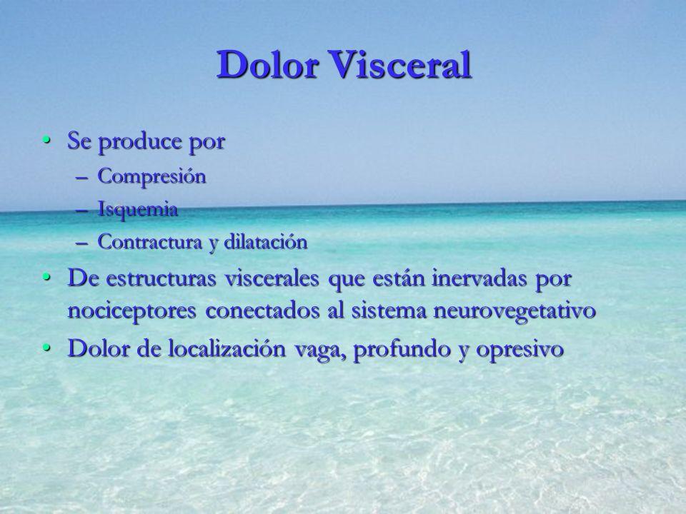 Dolor Visceral Se produce porSe produce por –Compresión –Isquemia –Contractura y dilatación De estructuras viscerales que están inervadas por nocicept